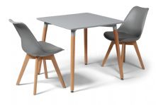 Toulouse Dining Set  - 80cms Square Grey Table & 2 Grey Chairs